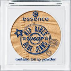 essence hip girls wear blue jeans metallic foil lip powder 01